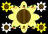 黒地に明るい花