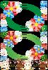花と三つ葉のクローバー飾り枠・猫アイコン水平線(背景透過PNG)