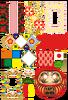 和風背景・飾り枠・ハート・折り紙・日本国旗・鏡餅・必勝だるま(背景透過PNG)