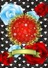 薔薇ダイヤ植物金枠金リボン