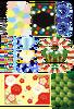 色・音符・薔薇・雪の結晶・紙吹雪・苺の飾り枠・クローバー・シロツメクサ・和風梅・葉っぱ(PNG)