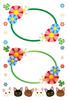 花と三つ葉のクローバー飾り枠・猫アイコン水平線(JPEG)