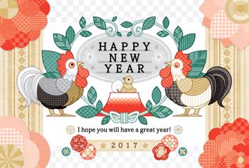 2017年酉年完成年賀状テンプレート「葉っぱと花と鶏」HAPPYNEWYEAR