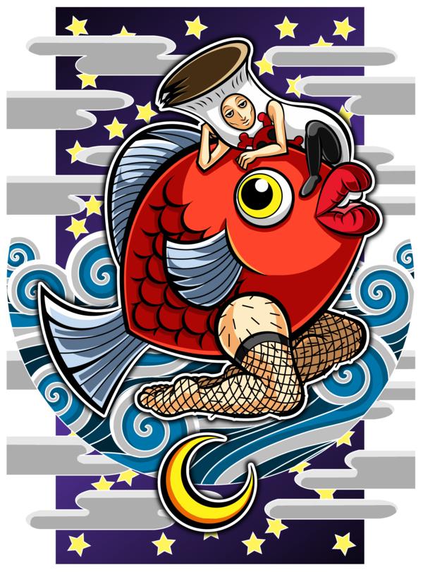 タンノくん&コモロくん(南国少年パプワくん/PAPUWA)1 ↑キャラ線画。  二次創作(デジタ