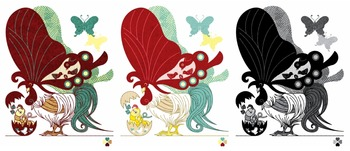鶏蝶の親子デザイン画風3パターン