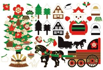 和風XMAS「クリスマスツリー・雪だるまサンタクロース・馬車・巾着袋・樅ノ木・日本家屋・縁起物」冬のイラスト素材集