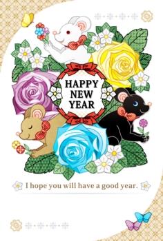 2020年・令和2年・2032年子年イラスト年賀状デザイン「3色鼠と花と蝶々」HAPPY NEW YEAR