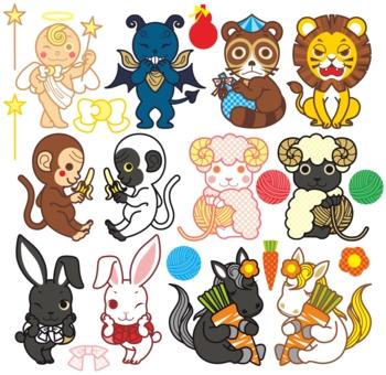 天使と悪魔と動物キャラクター(狸・ライオン・猿・羊・うさぎ・馬)カラフルデフォルメポップ