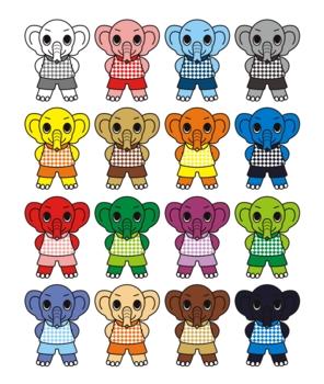 小象のキャラクターアイコン挿絵カットイラスト16色パターン