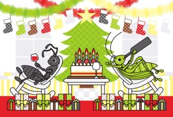【12月】クリスマスカード用イラスト「アリとキリギリスのChristmas holidays」ポストカードサイズ