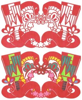 2013年巳年年賀状用イラスト素材(切り絵羽根突き蛇)