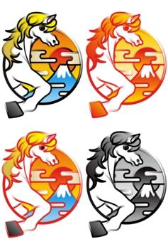 2014年午年年賀状用イラスト素材(手描き筆絵風白馬と日の出富士山)デジタル4点セット