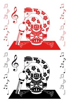 2013年巳年年賀状用イラスト素材(蛇使い)赤黒2点セット