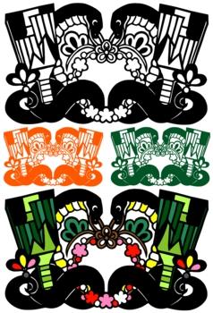 2013年巳年年賀状用イラスト素材(切り絵羽根突き蛇黒)