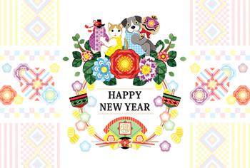 2018年2030年戌年完成年賀状テンプレート「犬猫と花と縁起物(打出の小槌と瓢箪)」HAPPYNEWYEAR