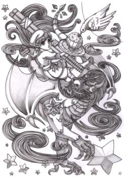 ドラゴンと食堂少女アナログ鉛筆で陰影終了