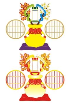 2013年巳年年賀状用イラスト素材(和風梅壺二対蛇)茶主線2点セット
