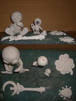 紙粘土工作(宇宙人他)1