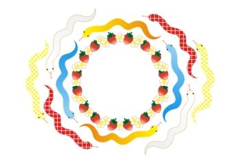 2013年巳年年賀状用イラスト素材(蛇と苺の輪)枠白地