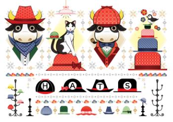 色々な帽子のイラスト「帽子牛と猫と鳥」HATS