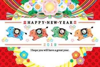 2019年亥年完成年賀状テンプレート「4色カラフルいのしし」HAPPYNEWYEAR