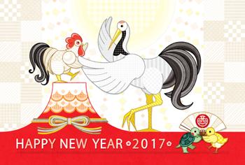 2017年酉年完成年賀状テンプレート「社交の舞」HAPPYNEWYEAR