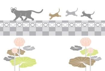 【挨拶状】喪中寒中見舞い年賀欠礼はがきテンプレート(猫の親子とブロック塀と蓮の花)