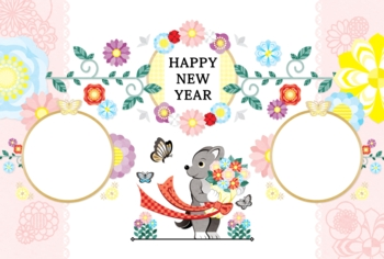 2018年2030年戌年完成年賀状テンプレート「犬と花束と蝶写真フレーム」HAPPYNEWYEAR