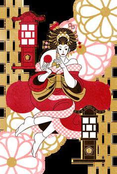 和風のイラスト制作(人物のみ)花魁 (2)