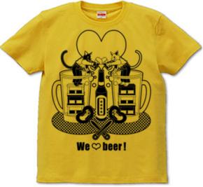 「We love beer!」モノクロT-shirt (半袖Tシャツ) \1,680- (Taxin \1,764- )