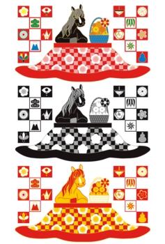 2014年午年年賀状用イラスト素材(馬とコタツとミカン)デジタル3点セット