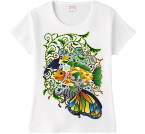 「植物魚と猫蝶とオニオオハシ」Fraise T (フライスTシャツ)  \1,980- (Taxin \2,079- )