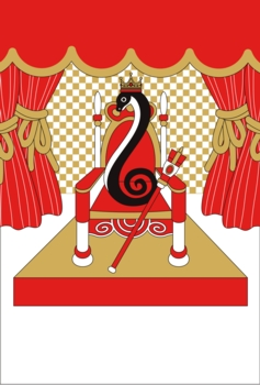2013年巳年完成年賀状テンプレートイラストのみ(王様蛇)白黒赤茶