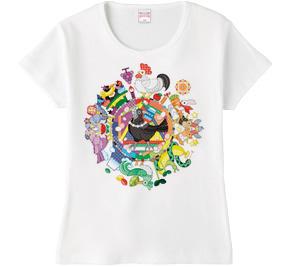 カラフル色相環グラデーションと白黒カラスTシャツ