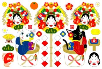 白猫黒猫お正月縁起熊手(年賀状用イラスト素材)