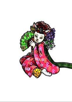 0080京都の舞妓猫i模様