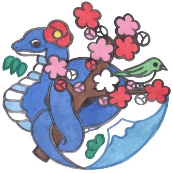 2013年巳年年賀状用イラスト素材(蛇と鶯と梅と富士山)