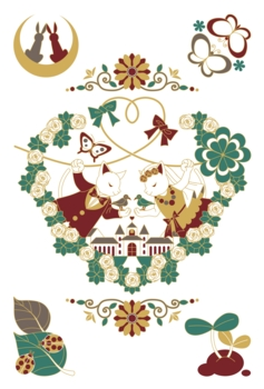 【6月】猫と鳥のカップル結婚式イラスト4色