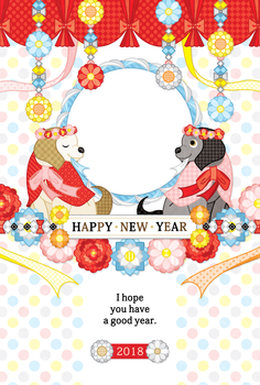 2018年戌年完成年賀状無料テンプレート(FLORAL DOG HAPPY NEW YEAR)写真フレーム年賀状