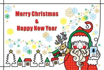 【12月】クリスマスカード用イラスト「音楽を聴くサンタクロースとトナカイのプレゼント」Merry Christmas and Happy New Year