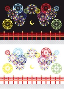 【夏】打ち上げ花火と橋と月イラストカットデザインイメージ素材(黒背景白背景セット)