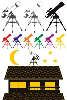「天体観測/天体望遠鏡/シルエット」イラスト素材集