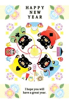 2019年亥年完成年賀状テンプレート「華やかいのししカルテット」HAPPY NEW YEAR