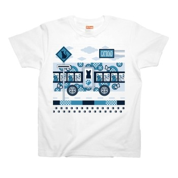 CAT ROAD AND CAT BUS Tシャツ青1