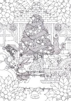 クリスマスカード用イラスト (サンタクロース)