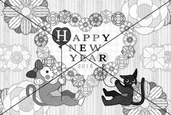 猿と猫と花ハートHAPPYNEWYEAR2016
