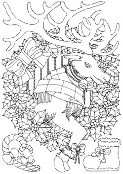 クリスマスカード用イラスト(トナカイ)
