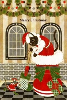 【クリスマスカード】クリスマスカード用イラスト(猫と鼠「靴下発見!」)MERRYCHRISTMAS茶線