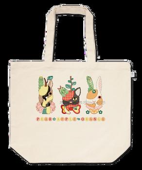 果物動物「洋梨馬」「林檎猫」「蜜柑兎」と芋虫トートバッグ