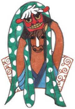 2014年午年年賀状用イラスト素材(獅子舞馬)筆絵